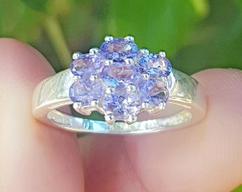 Genuine Natural 1.19ct Tanzanite Solid 925 Sterling Silver Ring Rhodium Anniversary Wedding Engagement Cocktail Gift Statement Cluster