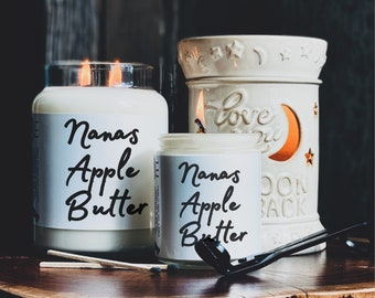 Nanas Apple Butter Scented Soy Candle, Handmade soy candle, Fall candle, Fall Decor, Halloween, Fall Candles