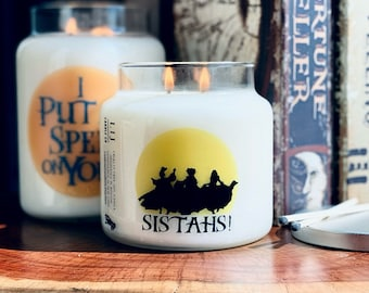 Halloween Hocus Pocus Soy Candle, Sistahs, Another glorious morning it makes me sick, I smell children, Salem Massachusetts, Halloween decor