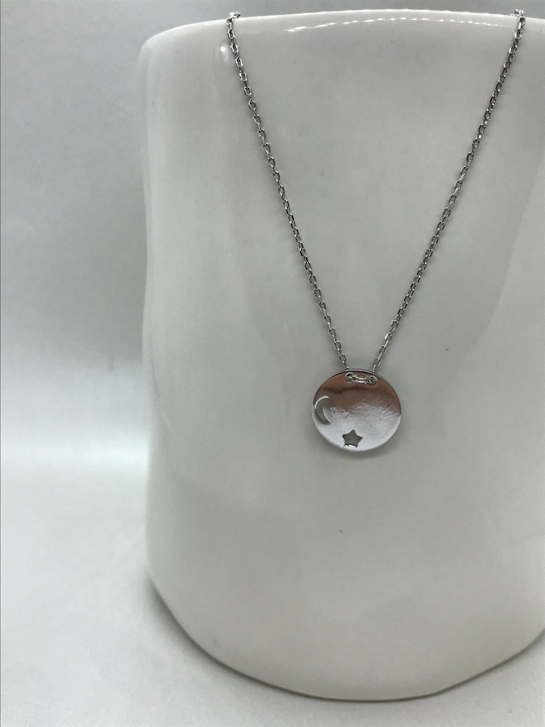 c3673b209c3 Moon star necklace, Sterling silver pendant, Simple design jewelry,  Handmade jewellery, Tiny accessories, Gift for girls, Elegant present