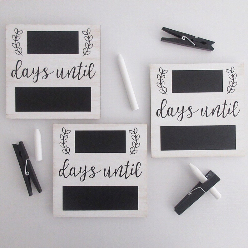 Chalkboard Countdown Magnet with Magnetic Chalk Holder