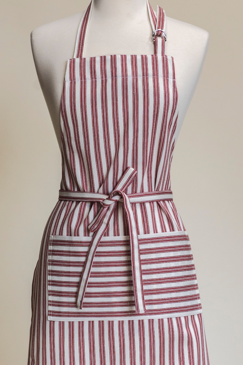 Womenu2019s Kitchen Apron, French Ticking Stripe Rose, Chef Apron, Apron For  Women With Pocket, Adjustable Neck, Made In The USA. Rose