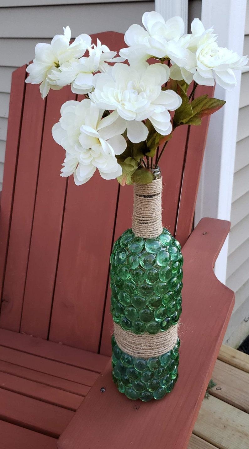 image 0 ... & Beautiful Green Glass Wine Bottle Beaded Flower Vase with | Etsy