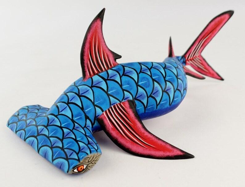 Oaxaca Wood Carving Hammerhead Shark Marine Life by Eleazar Morales Mexican  Folk Art Alebrije