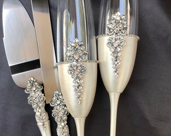 Fast shipping 4-8days Wedding glasses and cake server set Plate Forks Unity candles and holders Guestbook Bearer pillow Navy Silver set of15