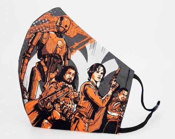 Star Wars Rogue One Mask | 3 ply plus Filter Pocket | Adjustable Ear straps | K-2SO Jyn Erso Chirrut Imwe Baze Malbus | Adult Face Masks