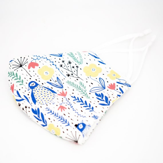 Floral Penguin Grass Mask | 3 ply plus Filter Pocket | Cotton Reusable| Adjustable Ear loops | Women Children Dust Face Masks | Flower Masks