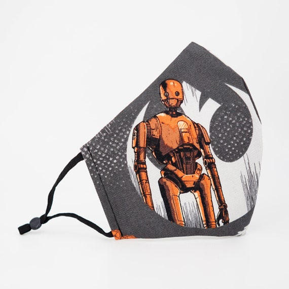Star Wars Rogue One Mask | 3 ply plus Filter Pocket | Adjustable Ear straps | K-2SO Cassian Andor | Adult Face Masks | Men Star Wars Fans