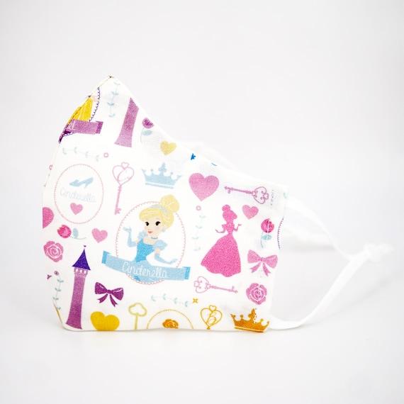 Princess Cinderella Mask | 3 ply plus Filter Pocket | Adjustable Ear Loops | Kid Children Adult Dust Face Masks | Cartoon Girl Fairy Tale