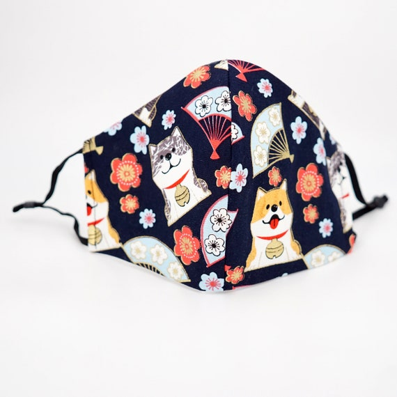 Japanese Shiba Inu Dog Print Face Mask | 3 ply plus Filter Pocket | Cotton Reusable | Adjustable Ear loops | Adult Kid Dust Masks |