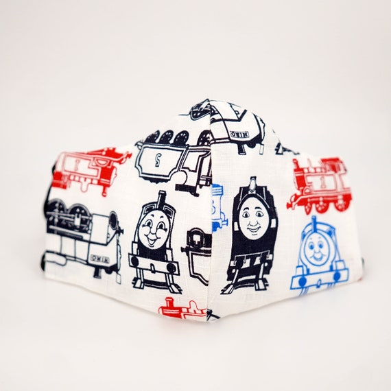 Thomas the Train Kid Mask | 3 ply plus Filter Pocket |Adjustable Ear straps | Children Dust Face Masks | Boy Cartoon Masks