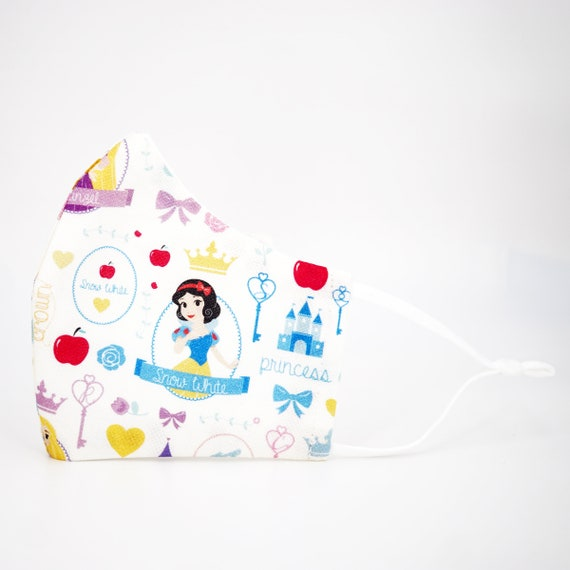 Princesses Snow White Kid Mask | 3 ply plus Filter Pocket | Adjustable Ear Loops | Children Dust Face Masks | Cartoon Girl Fairy Tale