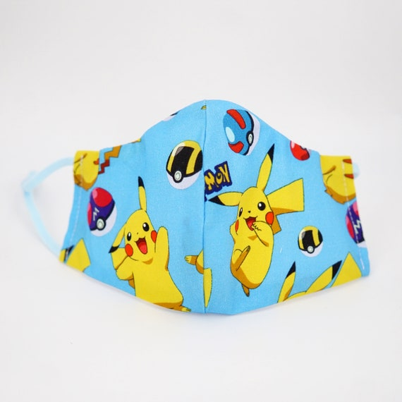 Pokemon Pikachu Kid Mask | 3 ply plus Filter Pocket | Adjustable Ear straps | Children Dust Face Masks | Breathable Washable Cartoon Masks
