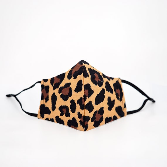 Leopard Print Pattern Face Mask | 3 ply plus Filter Pocket | Nature Wild Animal | Adjustable Ear loops | Adult Children Safari Zoo Forest