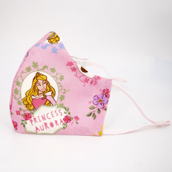 Princesses Belle Snow White Cinderella Kid Mask | 3 ply plus Filter Pocket | Adjustable Ear Loops | Children Dust Face Masks | Cartoon Girl