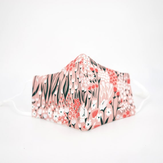 Pink Floral Mask | 3 ply plus Filter Pocket | Cotton Reusable| Adjustable Ear loops | Women Children Dust Face Masks | Flower pattern Masks