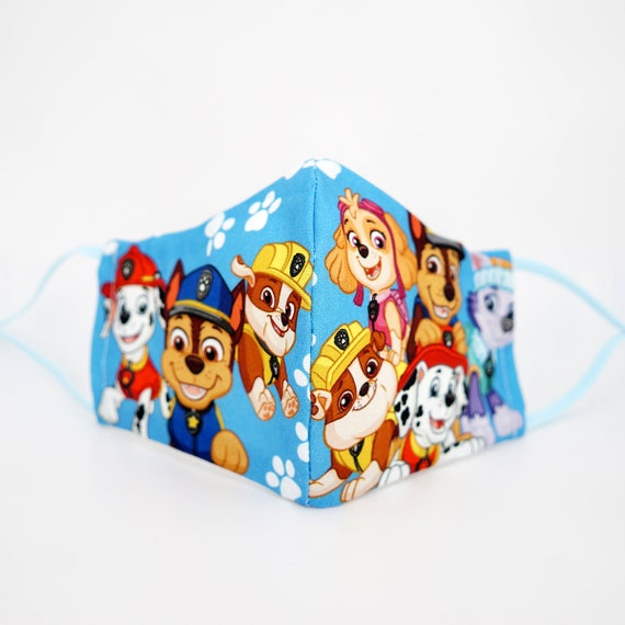 Paw Patrol Face Masks | 3 ply plus Filter Pocket | Chase Rubber Marshall Skye Everest | Adjustable Ear loops | Children Face Masks | Cartoon
