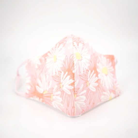 Pink Daisy Floral Mask | 3 ply plus Filter Pocket | Cotton Reusable| Adjustable Ear loops | Women Children | Flower pattern Masks