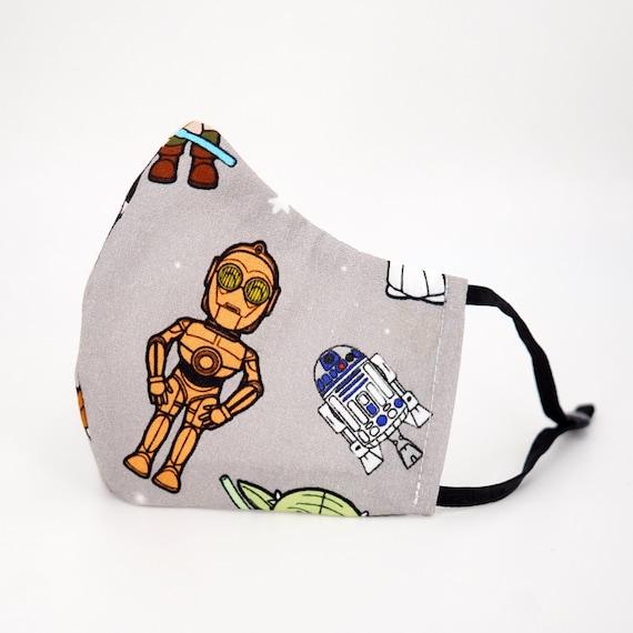 Star Wars R2-D2 C-3PO Kid Mask | 3 ply plus Filter Pocket |Adjustable Ear straps | Children Dust Face Masks | Boy Cartoon Masks