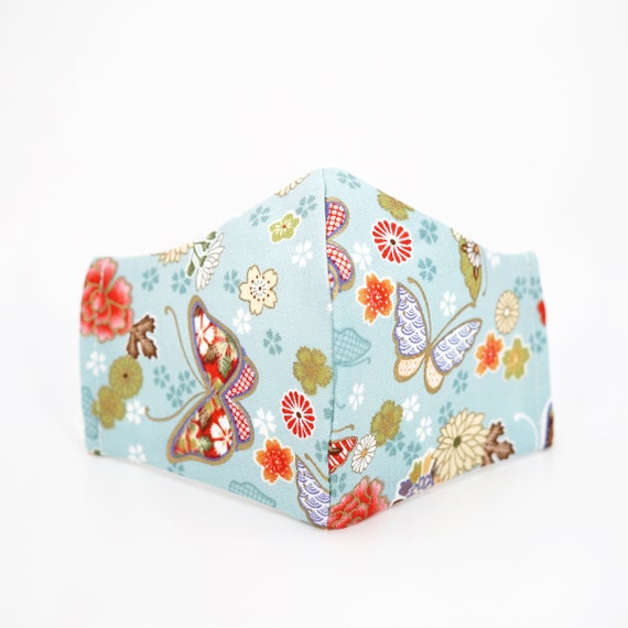 Japanese Style Butterfly Flower Light Blue Face Mask | 3 ply plus Filter Pocket | Cotton Reusable | Adjustable Ear loops | Adult Dust Masks