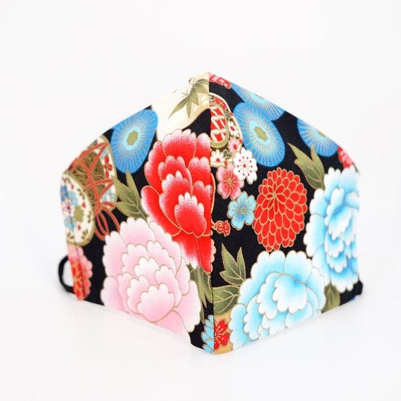 Japanese Style Peony Sakura Fan Drum Face Mask | 3 ply plus Filter Pocket | Cotton Reusable | Adjustable Ear loops | Adult Kid Dust Masks |