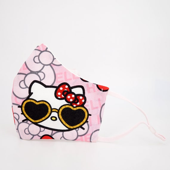 Hello Kitty with Love Heart Sunflasses Kid Mask | 3 ply plus Filter Pocket | Adjustable Ear straps | Children Dust Face Masks | Cartoon