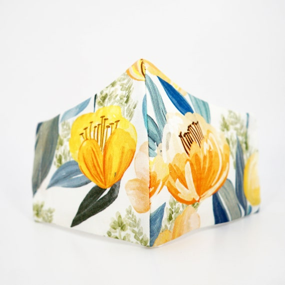Yellow Tulips Floral Mask | 3 ply plus Filter Pocket | Cotton Reusable | Adjustable Ear loops | Women Children Face Masks | Flower pattern