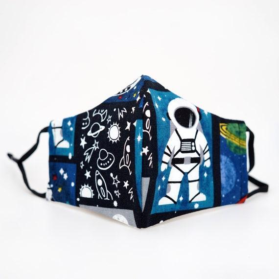 Astronaut Space Rocket Shuttle Mask | 3 ply plus Filter Pocket |Adjustable Ear straps | Children Kids Boys Adult Dust Face Masks | Cartoon