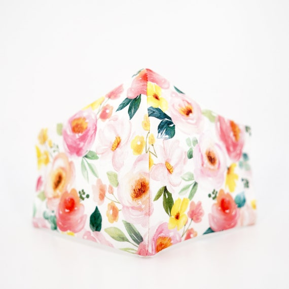 Pink Floral Mask | 3 ply plus Filter Pocket | Cotton Reusable | Adjustable Ear loops | Women Children Peony Blossom | Flower pattern Masks