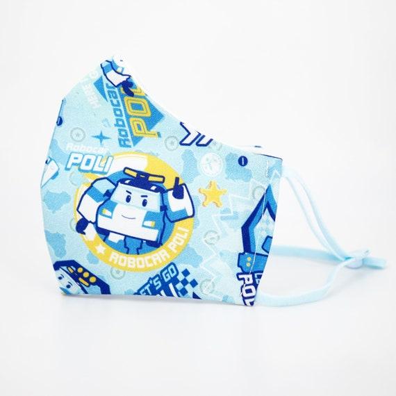 Robocar Poli Kid & Adult Mask | 3 ply plus Filter Pocket | Boys Reusable Washable Face Masks | Adjustable Ear loops | Cartoon Police Car
