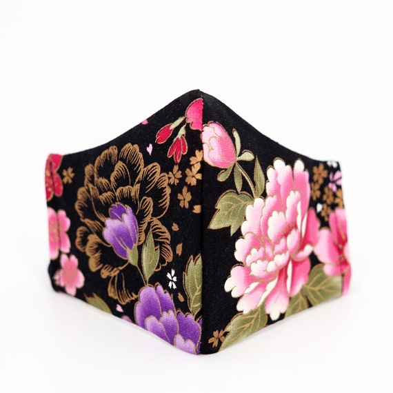Japanese Style Peony Flower Face Mask | 3 ply plus Filter Pocket | Cotton Reusable | Adjustable Ear loops | Adult Dust Masks |