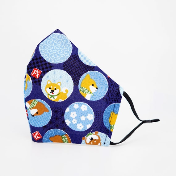 Japanese Shiba Inu Dogs Bubbles Face Mask | 3 ply plus Filter Pocket | Cotton Reusable | Adjustable Ear loops | Adult Kid Dust Masks |