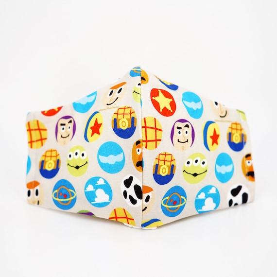 Toy story Kid Mask | 3 ply plus Filter Pocket | Buzz Lightyear Alien | Adjustable Ear straps | Children Dust Masks | Disney Cartoon Masks