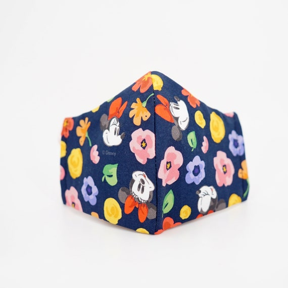 Minnie Mouse Dark Blue Floral Mask | 3 ply plus Filter Pocket | Cotton Reusable | Adjustable Ear loops | Women Children Dust Face Masks