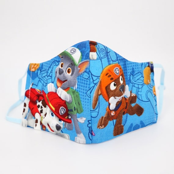 Paw Patrol Face Masks | Boys Kid Mask | 3 ply plus Filter Pocket | Marshall Rocky Zuma | Adjustable Ear straps | Children Face | Cartoon