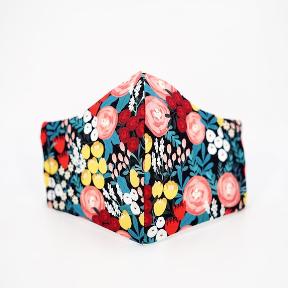 Secret Garden Floral Mask | 3 ply plus Filter Pocket | Cotton Reusable| Adjustable Ear loops | Lily Rose Peony Blossom Flower pattern Masks