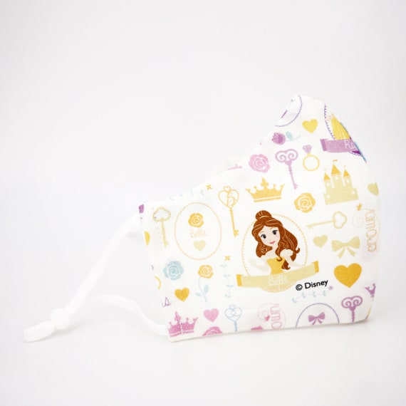 Princess Belle Beauty & the Breast Mask | 3 ply plus Filter Pocket | Adjustable Ear Loops | Kid Children Dust Face | Cartoon Girl Fairy