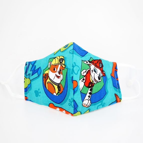 Paw Patrol Face Masks | Boys Kid Mask | 3 ply plus Filter Pocket | Marshall Rubber | Adjustable Ear straps | Children Face | Cartoon