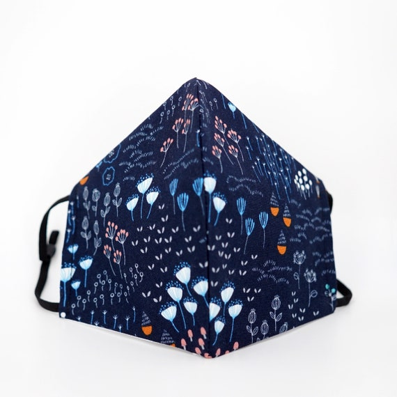 Floral Mask | 3 ply plus Filter Pocket | Cotton Reusable| Adjustable Ear loops | Women Children Dust Face Masks | Flower pattern Masks