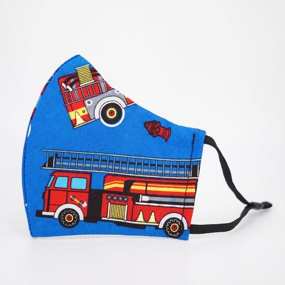 Fire Engine Truck Kid Mask | 3 ply plus Filter Pocket | Adjustable Ear straps | Children Dust Face Masks | Boy Cartoon Masks