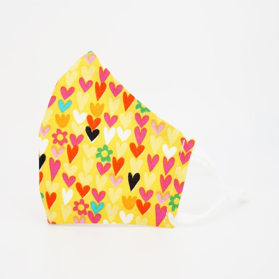 Hearts Love Mask | 3 ply plus Filter Pocket | Cotton Reusable| Adjustable Ear loops | Women Children Dust Face Masks | Girls pattern Masks