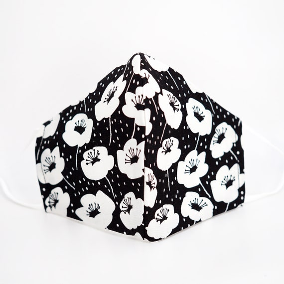 Black & White Floral Mask | 3 ply plus Filter Pocket | Cotton Reusable Adjustable Ear loops | Women Children Face Masks | Flower pattern