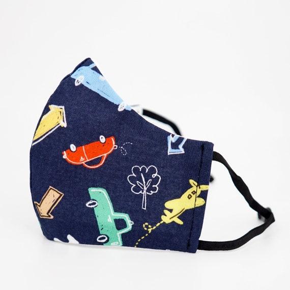 Car Plane Bus Kid Mask | 3 ply plus Filter Pocket |Adjustable Ear straps | Children Dust Face Masks | Boy Cartoon Masks