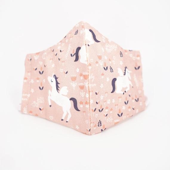 Pink Unicorn Girl Kid Mask | 3 ply plus Filter Pocket | Adjustable Ear straps | Children Dust Face Masks | Cartoon Girl