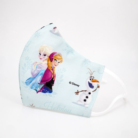 Frozen Princess Elsa Anna Olaf Kid Mask | 3 ply plus Filter Pocket | Adjustable Ear straps | Children Dust Face Masks | Cartoon Girl
