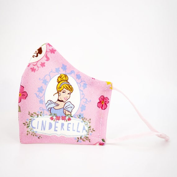 Princesses Belle Snow White Cinderella Kid Mask | 3 ply plus Filter Pocket | Adjustable Ear straps | Children Dust Face Masks | Cartoon Girl