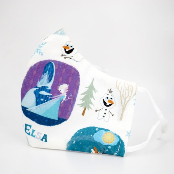 Frozen Princess Elsa Anna Olaf Kid Mask   3 ply plus Filter Pocket   Adjustable Ear straps   Children Dust Face Masks   Cartoon Girl