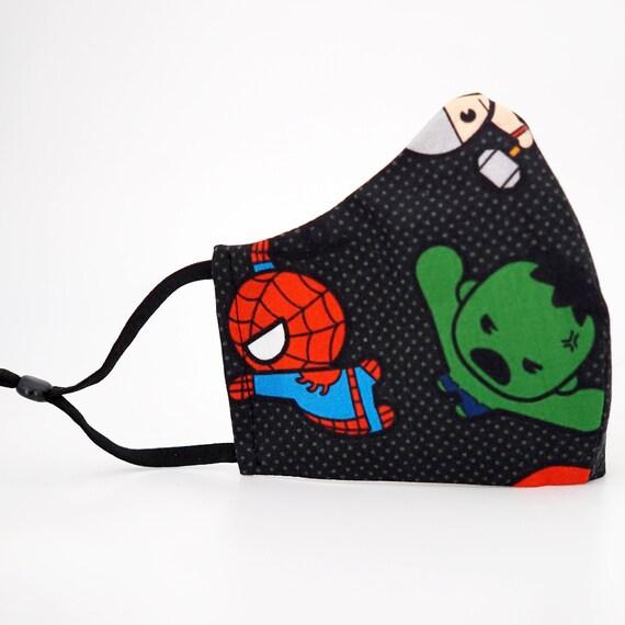 Marvel Avengers Superheros Kid & Adult Mask | 3 ply plus Filter Pocket | Iron man Spiderman Hulk Thor Captain| Adjustable Ear loops | Comics