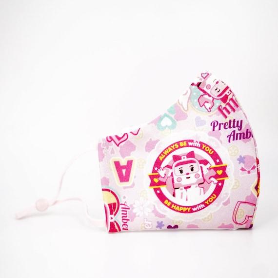 Robocar Poli Amber Pink Kid & Adult Mask | 3 ply plus Filter Pocket | Reusable Washable Face Mask | Adjustable Ear loops | Cartoon Ambulance