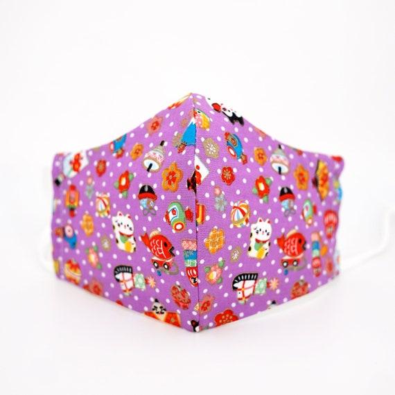 Japanese Style Maneki Neko Culture Purple Lucky Face Mask | 3 ply plus Filter Pocket | Cotton Reusable | Adjustable Ear loops | Dust Masks